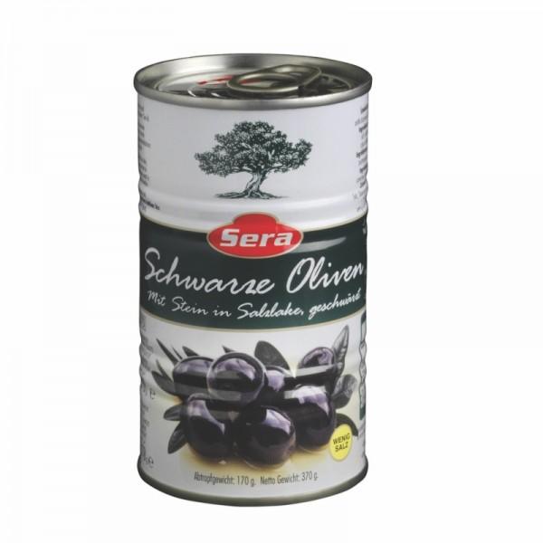 Schwarze Oliven mit Stein