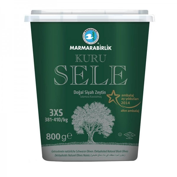 MARMARABIRLIK Kuru Sele Getrocknete natürliche Schwarze Oliven 3XS