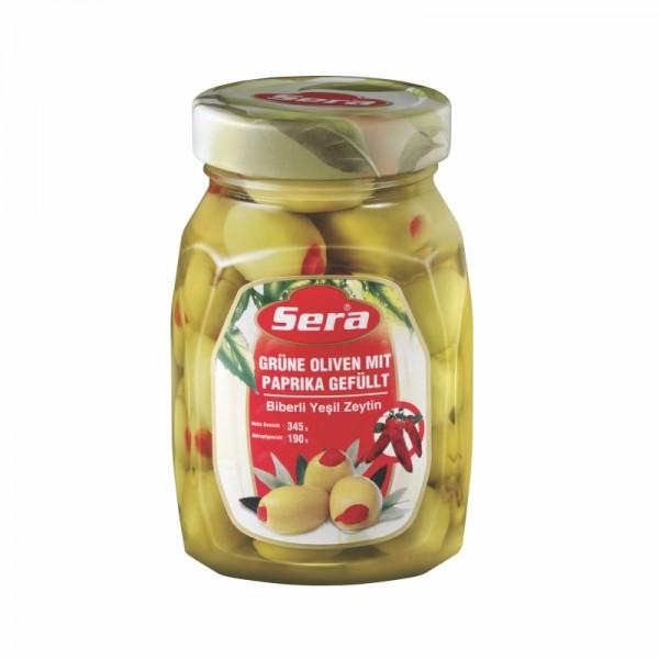 Grüne Oliven gefüllt mit Paprika 190g