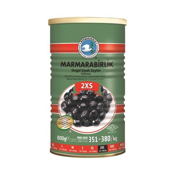 Natürliche Schwarze Oliven 2XS 800g