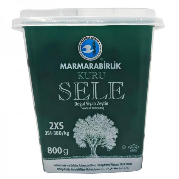 Kuru Sele Getrocknete natürliche Schwarze Oliven 2XS 800g