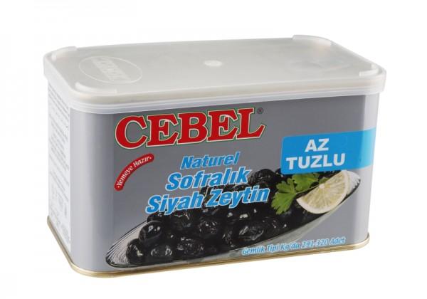 Salzarme natürliche schwarze Oliven 750g