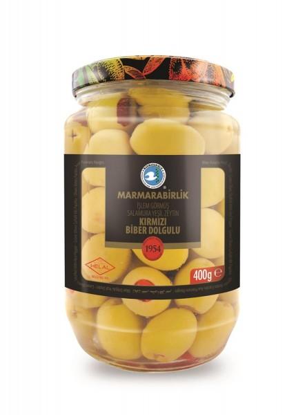 Grüne Oliven gefüllt mit Paprika 400g