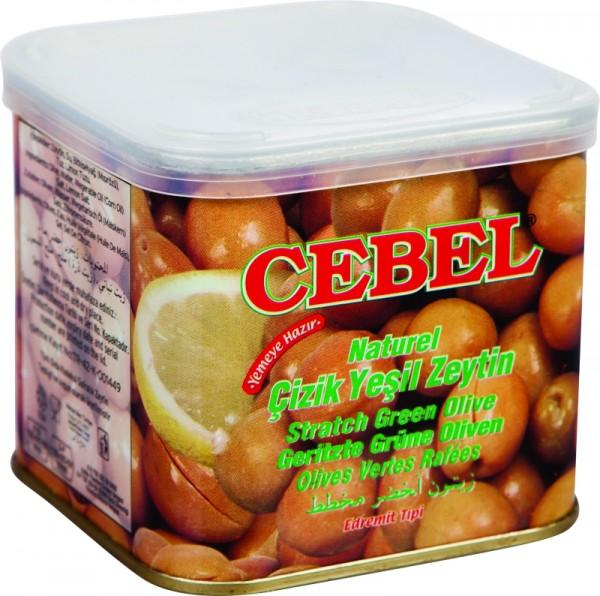 Geritzte natürliche grüne Oliven 350g